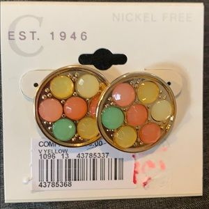 Gold post earrings multi color palette